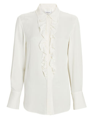 Ruffled Silk Tuxedo Shirt, WHITE, hi-res