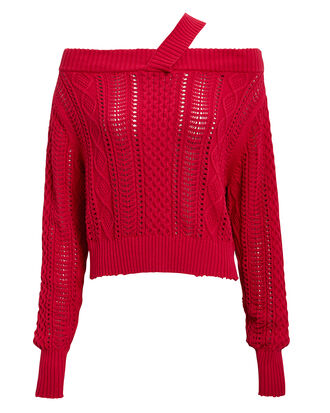 Beckett Vermilion Off Shoulder Sweater, RED, hi-res
