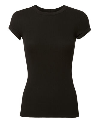Cap Sleeve Ribbed Tee, BLACK, hi-res