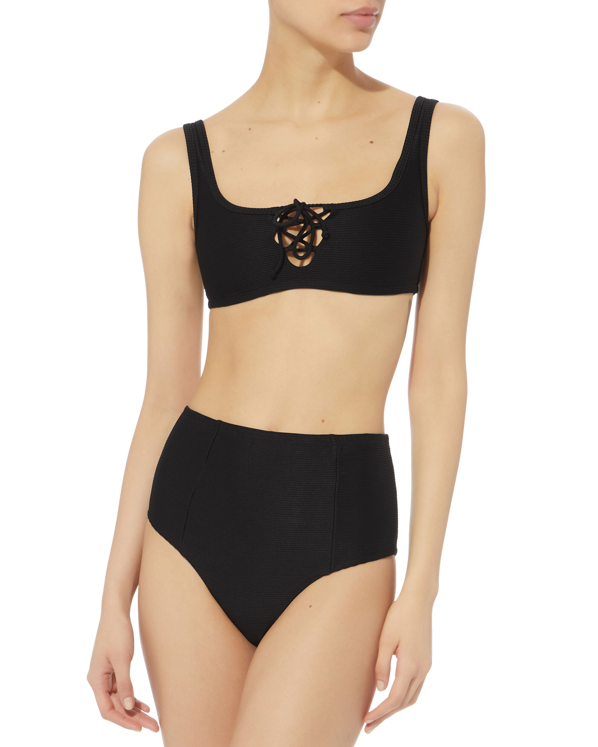 Zoey Ribbed Bikini Bottom, BLACK, hi-res