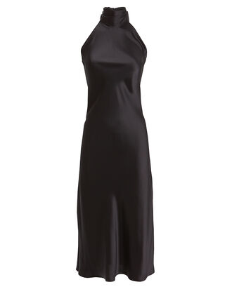 Sienna Satin Midi Dress, BLACK, hi-res