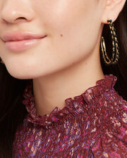 Angola Black Beaded Hoop Earrings, GOLD/BLACK, hi-res