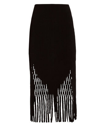 Lory Perforated Bonded Crepe Skirt, BLACK, hi-res