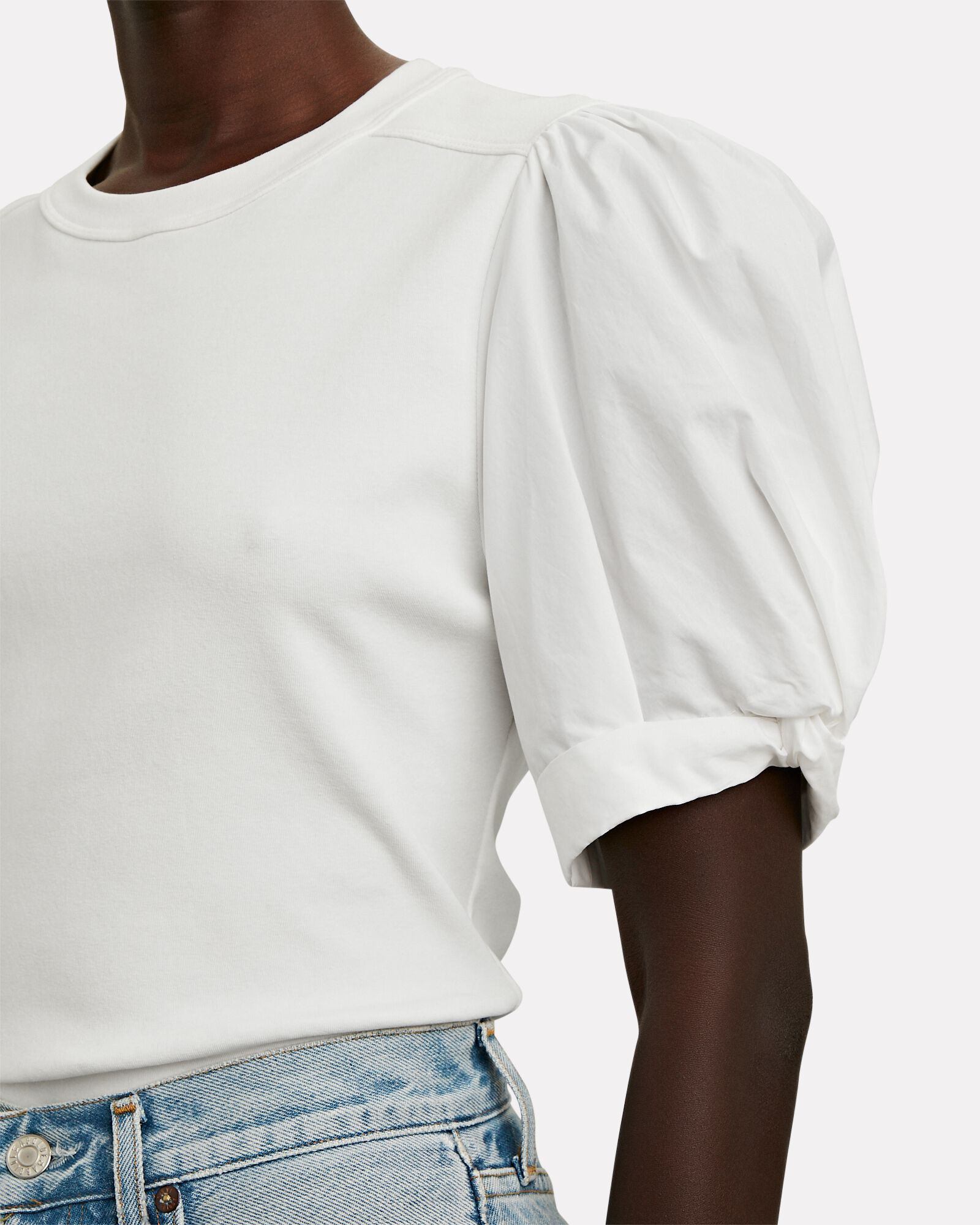 Casey Puff Sleeve T-Shirt, WHITE, hi-res
