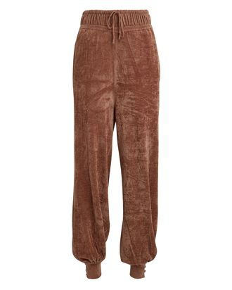 Ronny Chenille Knit Joggers, BROWN, hi-res