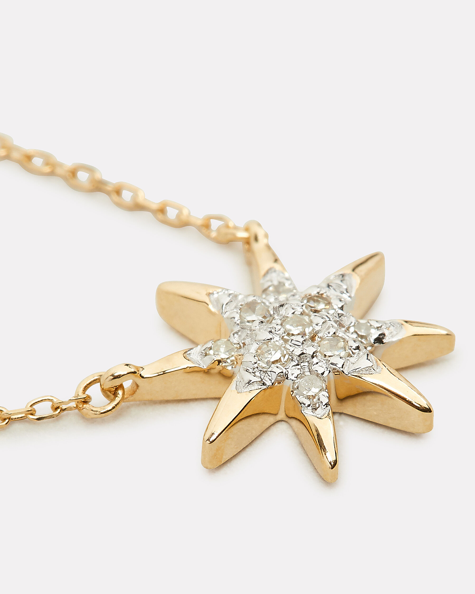 Tiny Starburst Pendant Necklace, GOLD, hi-res