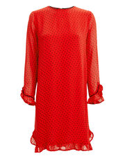 Printed Georgette Fiery Red Dot Dress, RED/BLACK, hi-res