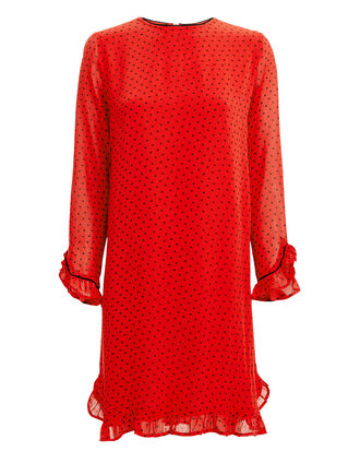 Printed Georgette Dress, RED, hi-res