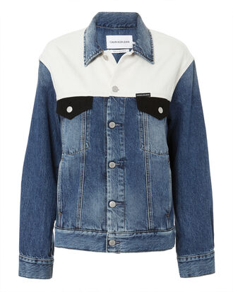 Classic Trucker Denim Jacket, WHITE/BLUE DENIM, hi-res