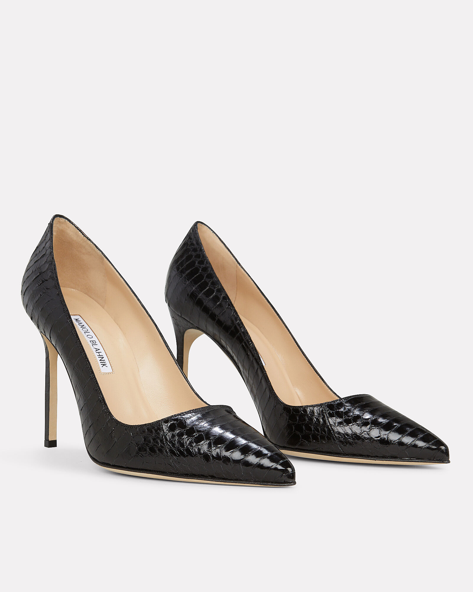 BB Snakeskin Embossed Pumps, BLACK, hi-res