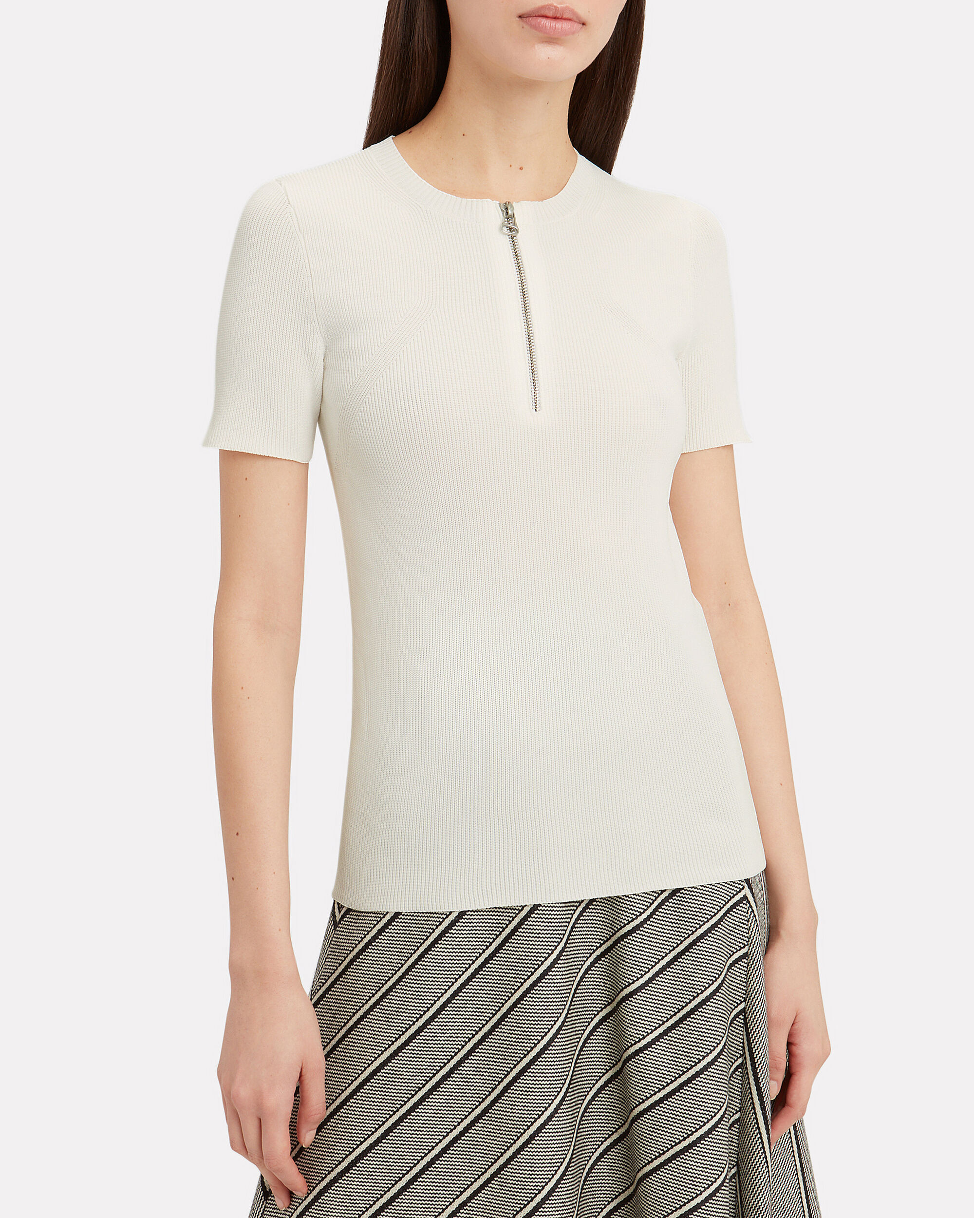 Zip Detail Knit Top, WHITE, hi-res