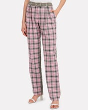 Gurli Checked Wool Tailored Trousers, GREEN/PINK CHECK, hi-res