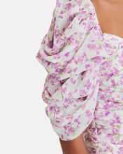 Silk Floral Blouse, IVORY/LILAC, hi-res
