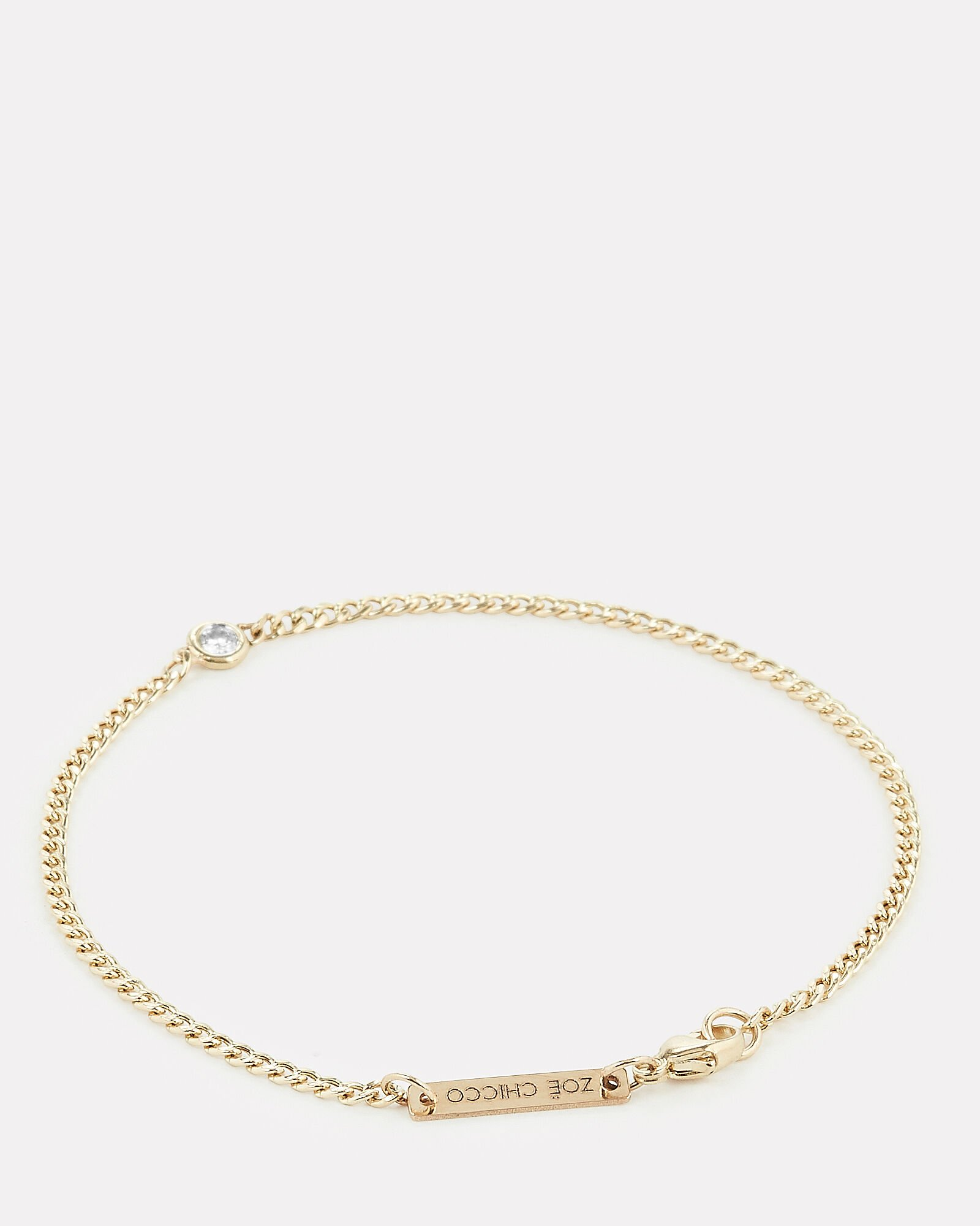 Curb Chain Diamond Bracelet, GOLD, hi-res