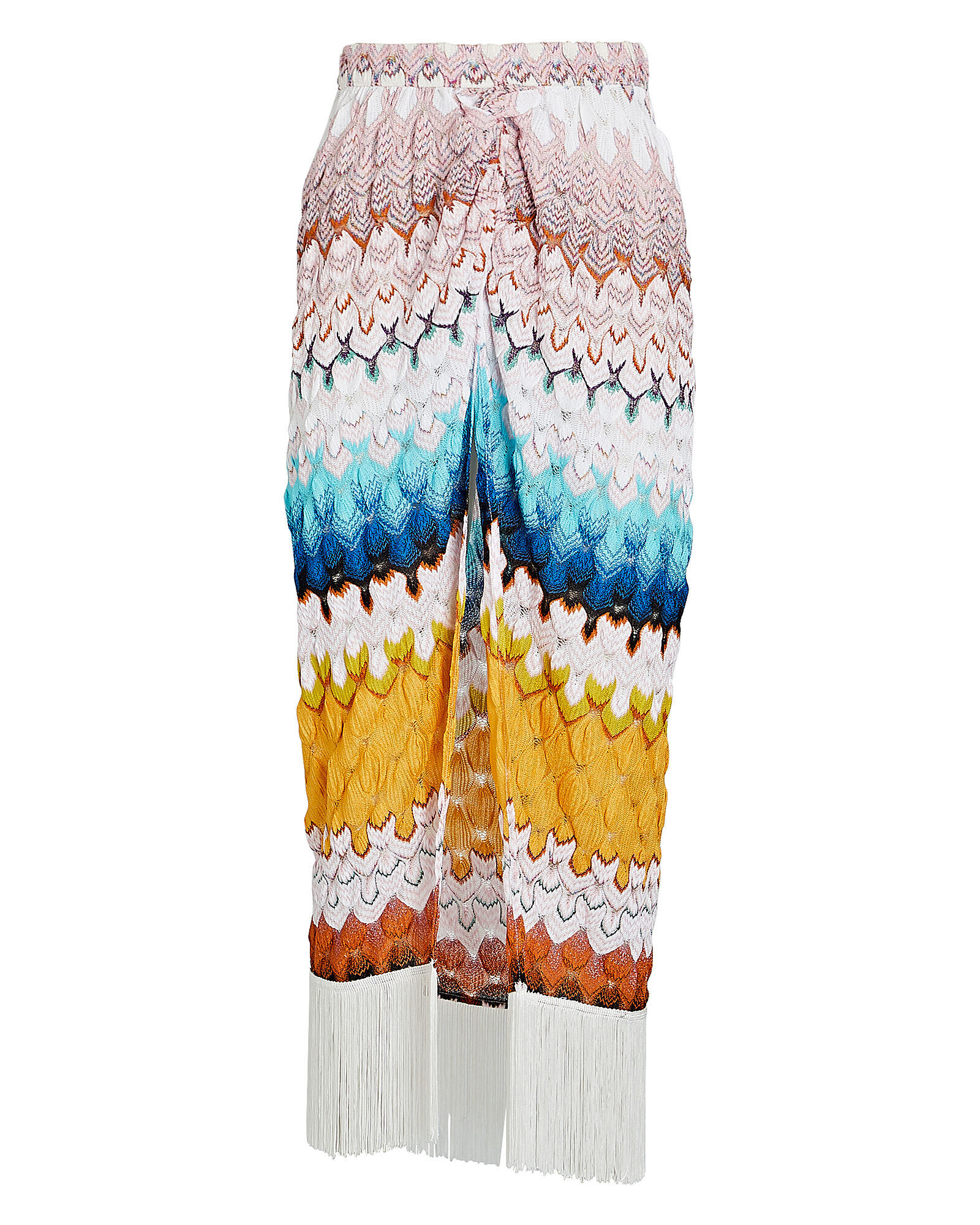 Knit Chevron Sarong Skirt, OMBRE RAINBOW WAVE, hi-res