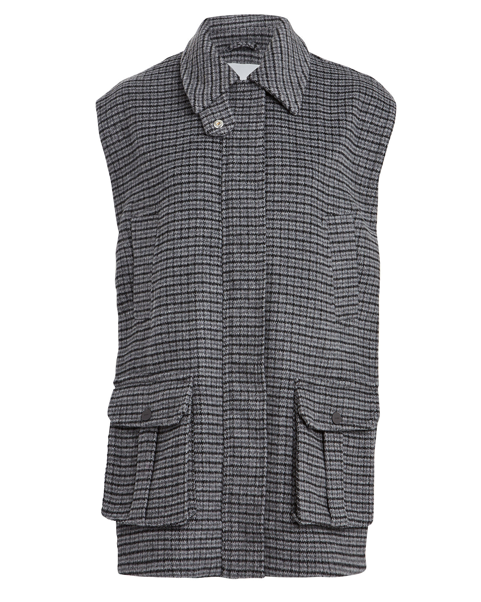 Checked Wool Oversized Vest, MULTI, hi-res