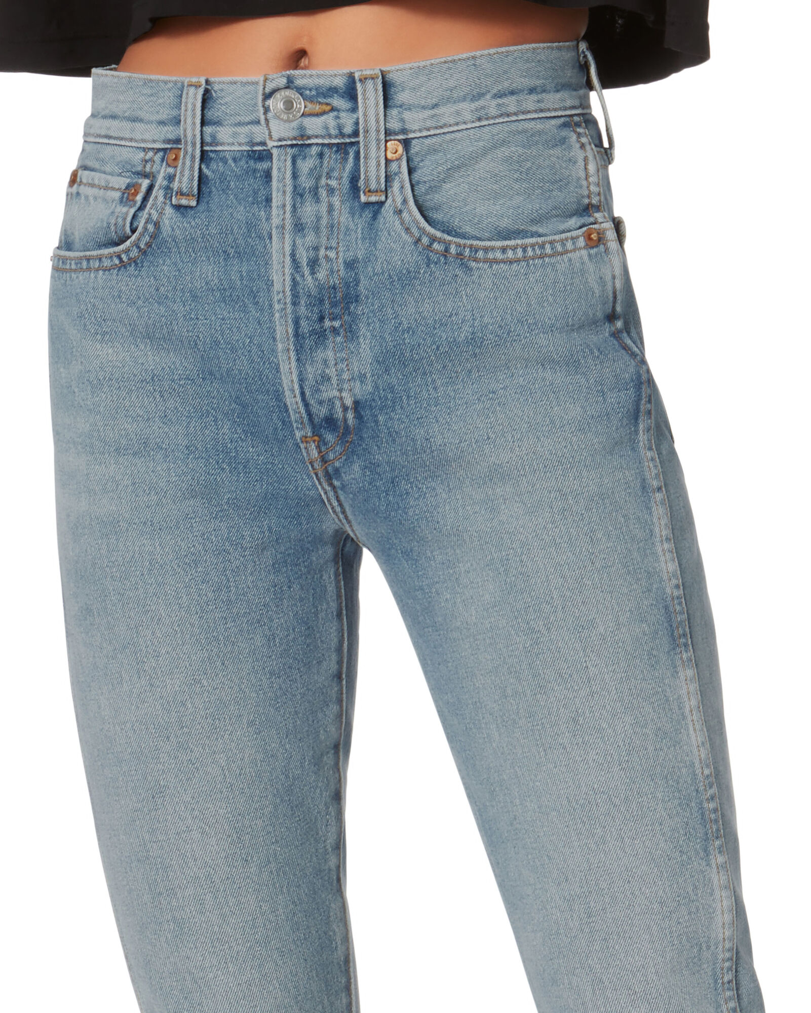 Double Needle Crop Jeans, MEDIUM WASH DENIM, hi-res