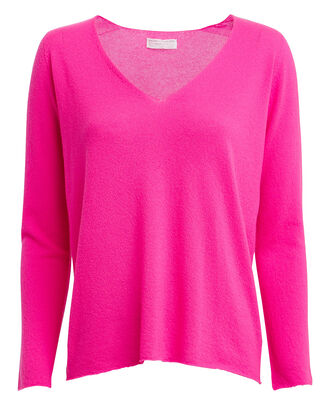 Cashmere-Blend V-Neck Sweater, NEON PINK, hi-res
