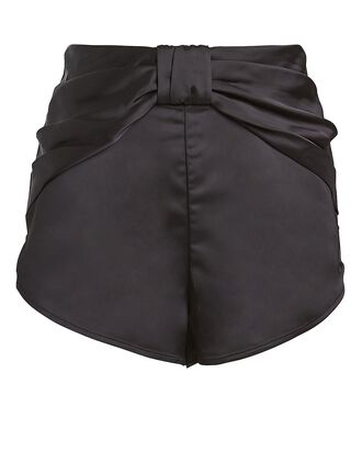 Draped Satin Shorts, BLACK, hi-res