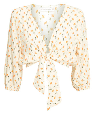 La Guardia Floral Wrap Top, IVORY/YELLOW FLORAL, hi-res