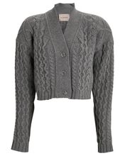 Forget Me Not Cropped Cardigan, GREY, hi-res