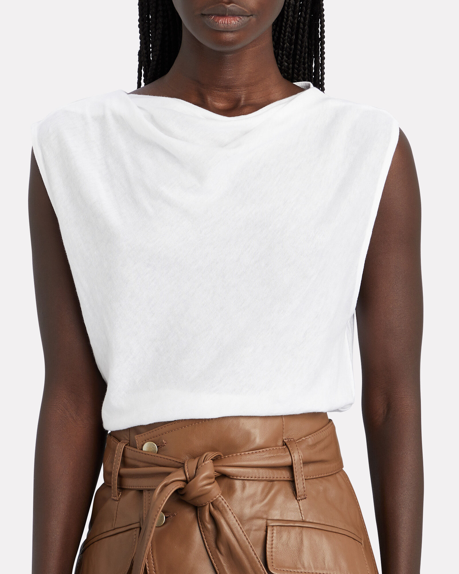 Selma Cowl Neck Tank Top, WHITE, hi-res