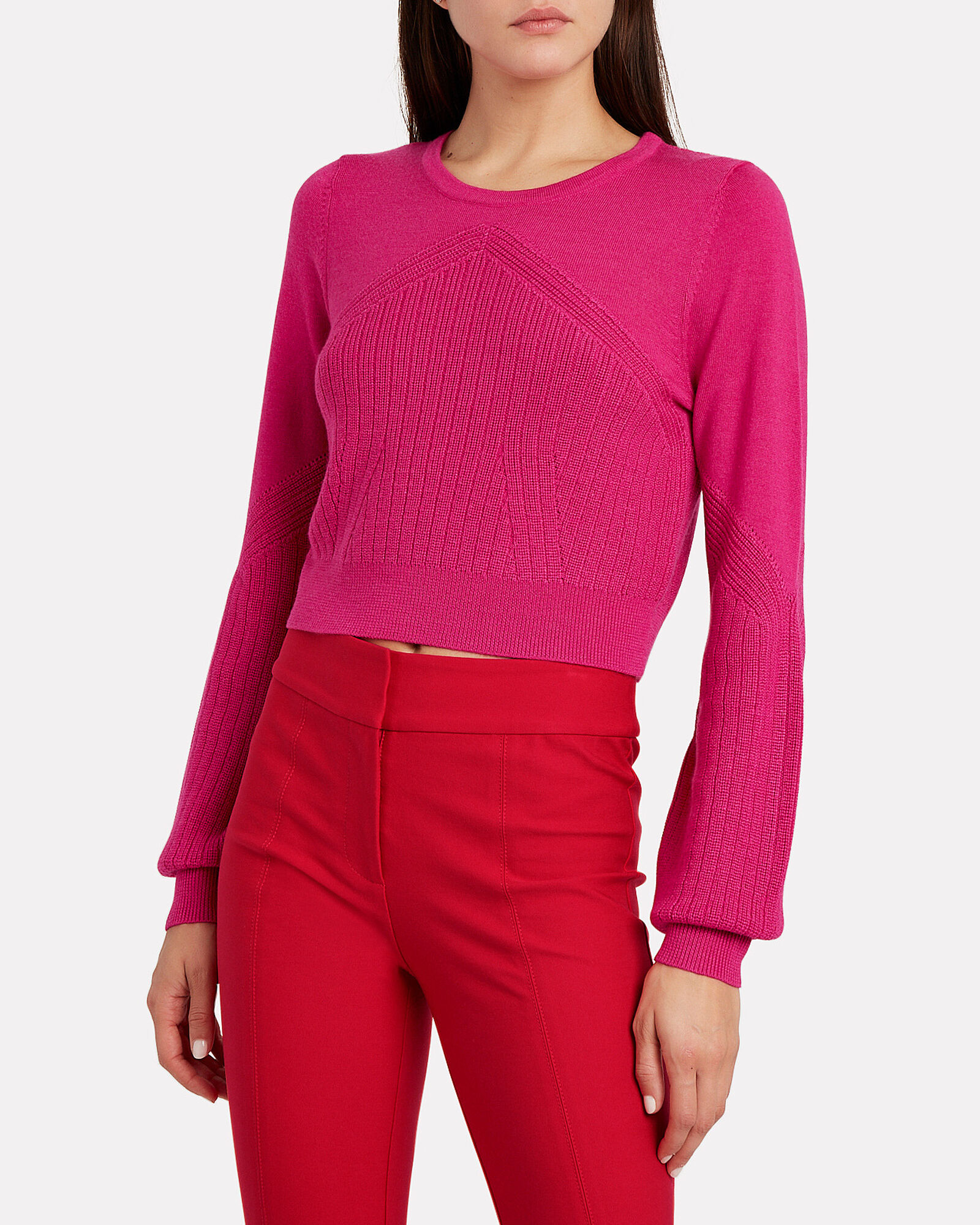 Crewneck Silk-Wool Sweater, PINK-DRK, hi-res
