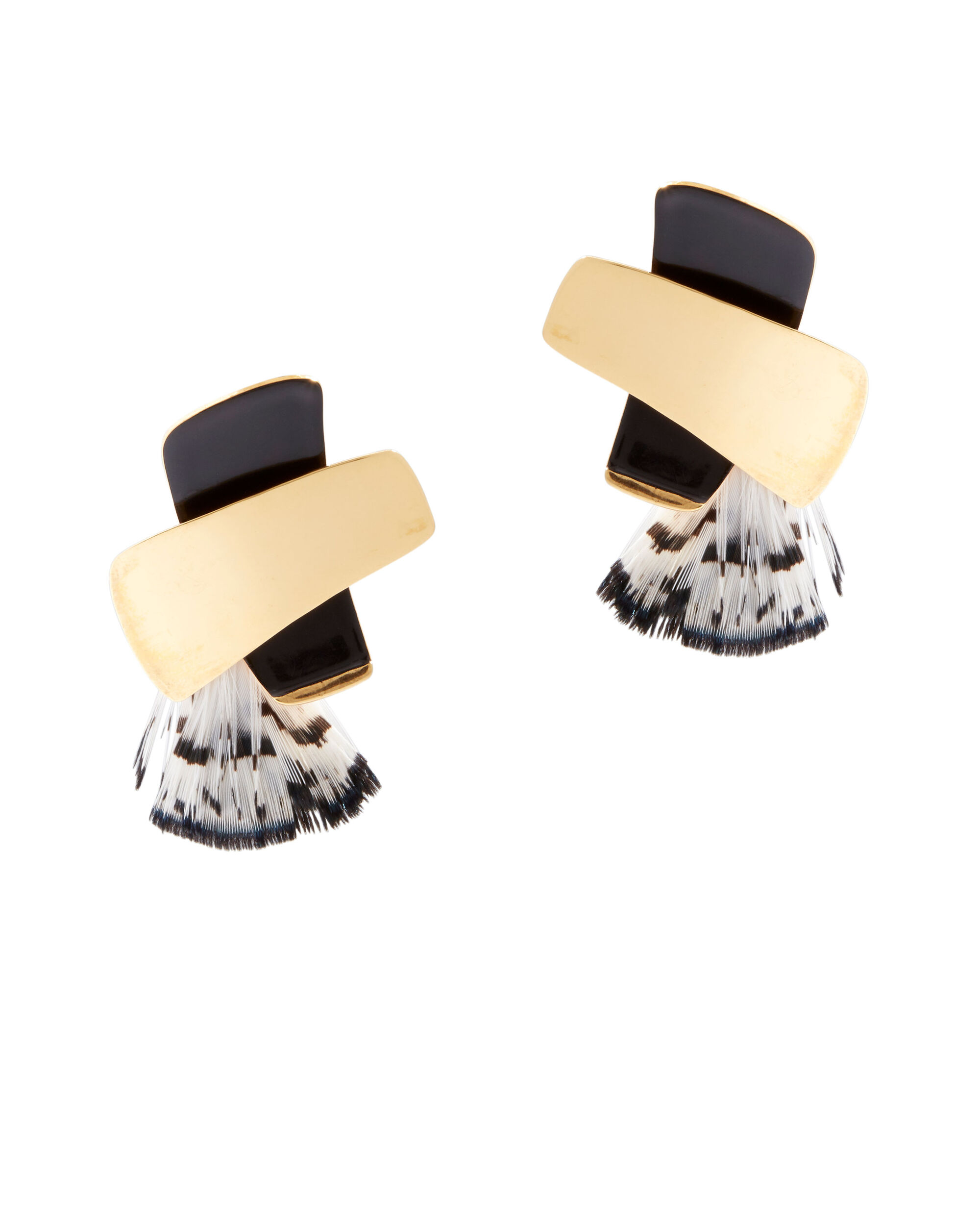 X Top Feather Earrings, BLK/WHT, hi-res