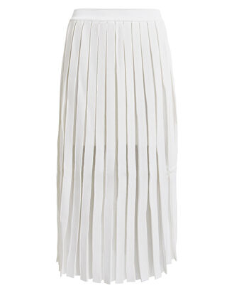 Pleated Sheer Panel Midi Skirt, WHITE, hi-res