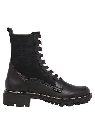 Shiloh Leather Combat Boots, BLACK, hi-res
