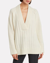 Oversized Wool & Cashmere Sweater, IVORY, hi-res