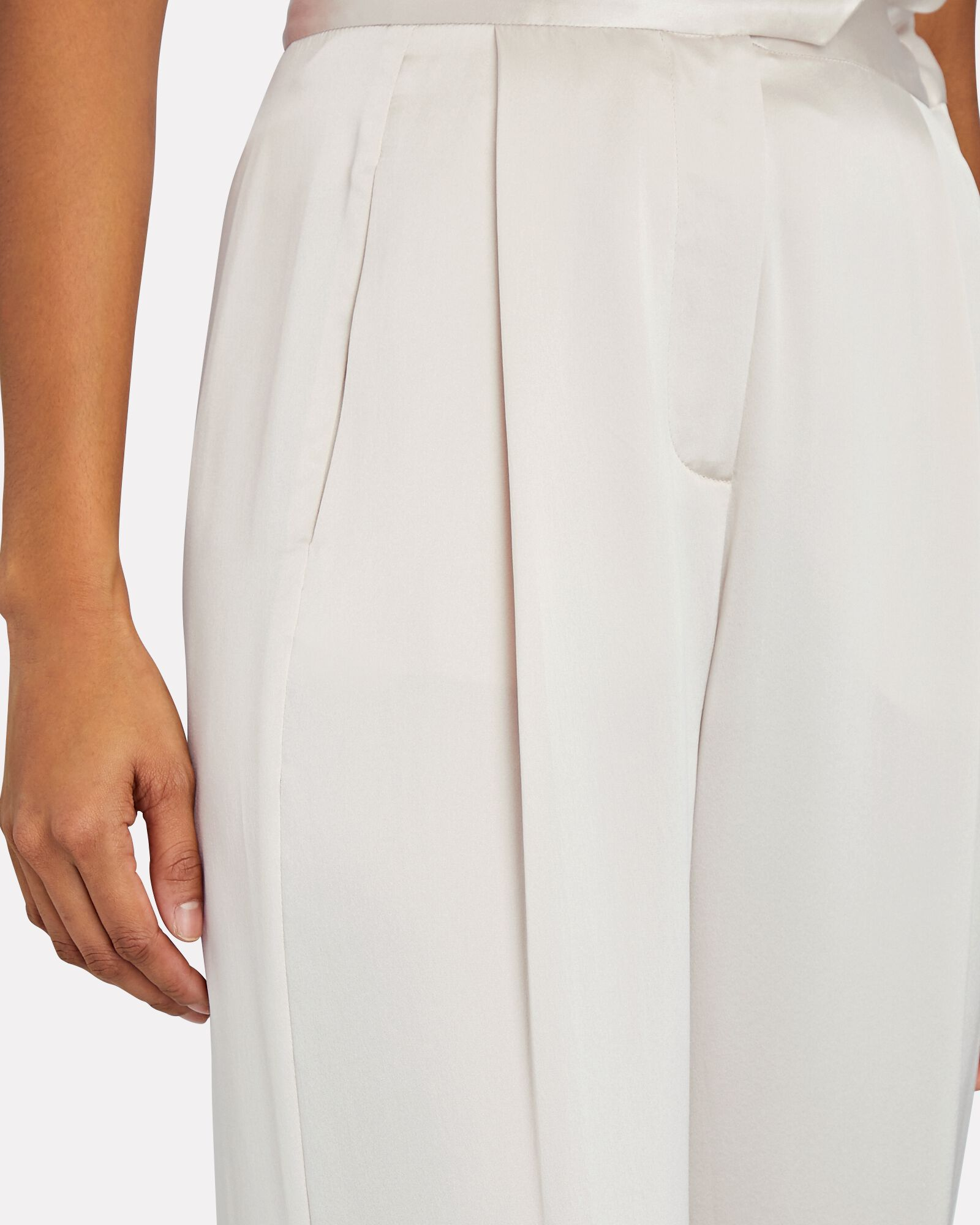 High-Rise Silk Wide-Leg Pants, IVORY, hi-res