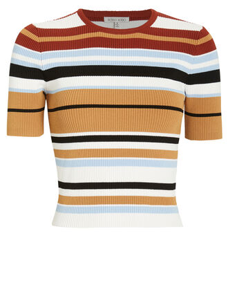 Valena Ribbed Crew Neck Top, RED/RUST STRIPE, hi-res