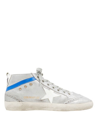 Mid Star Shearling Suede Silver Sneakers, SILVER/BLUE LEATHER, hi-res
