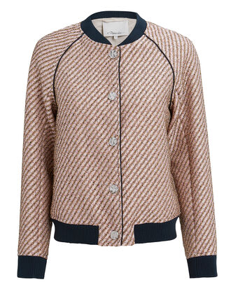 Blush Lurex Tweed Jacket, BLUSH/NAVY, hi-res