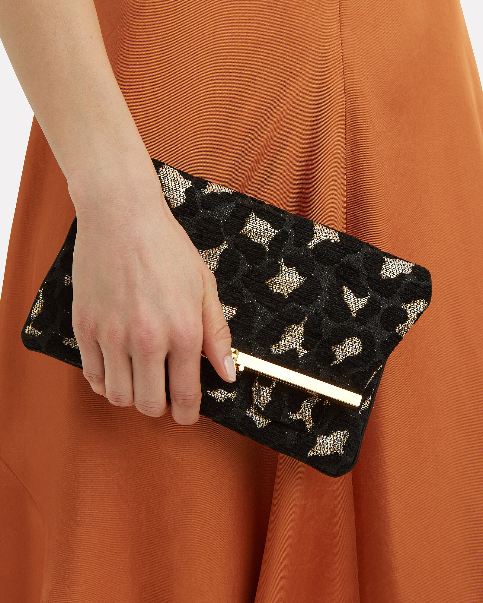 Leopard Chenille Fold-Over Clutch, BLACK/GOLD, hi-res