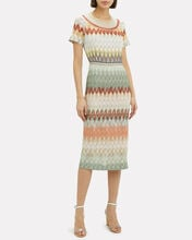 Chevron Print Midi Dress, Khaki/Chevron, hi-res