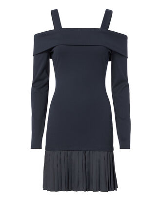 Off Shoulder Layered Knit Dress, NAVY 2, hi-res