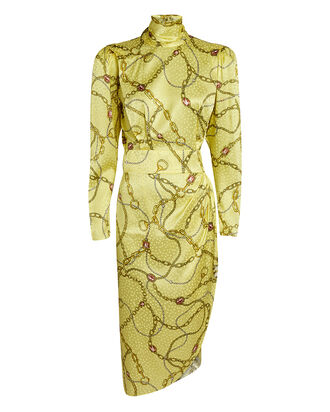 Kaira Chain-Link Printed Satin Dress, YELLOW, hi-res