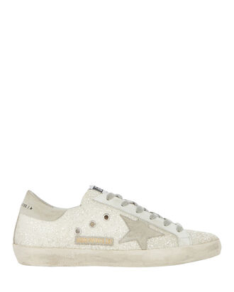 Superstar Low-Top Glitter Sneakers, WHITE, hi-res