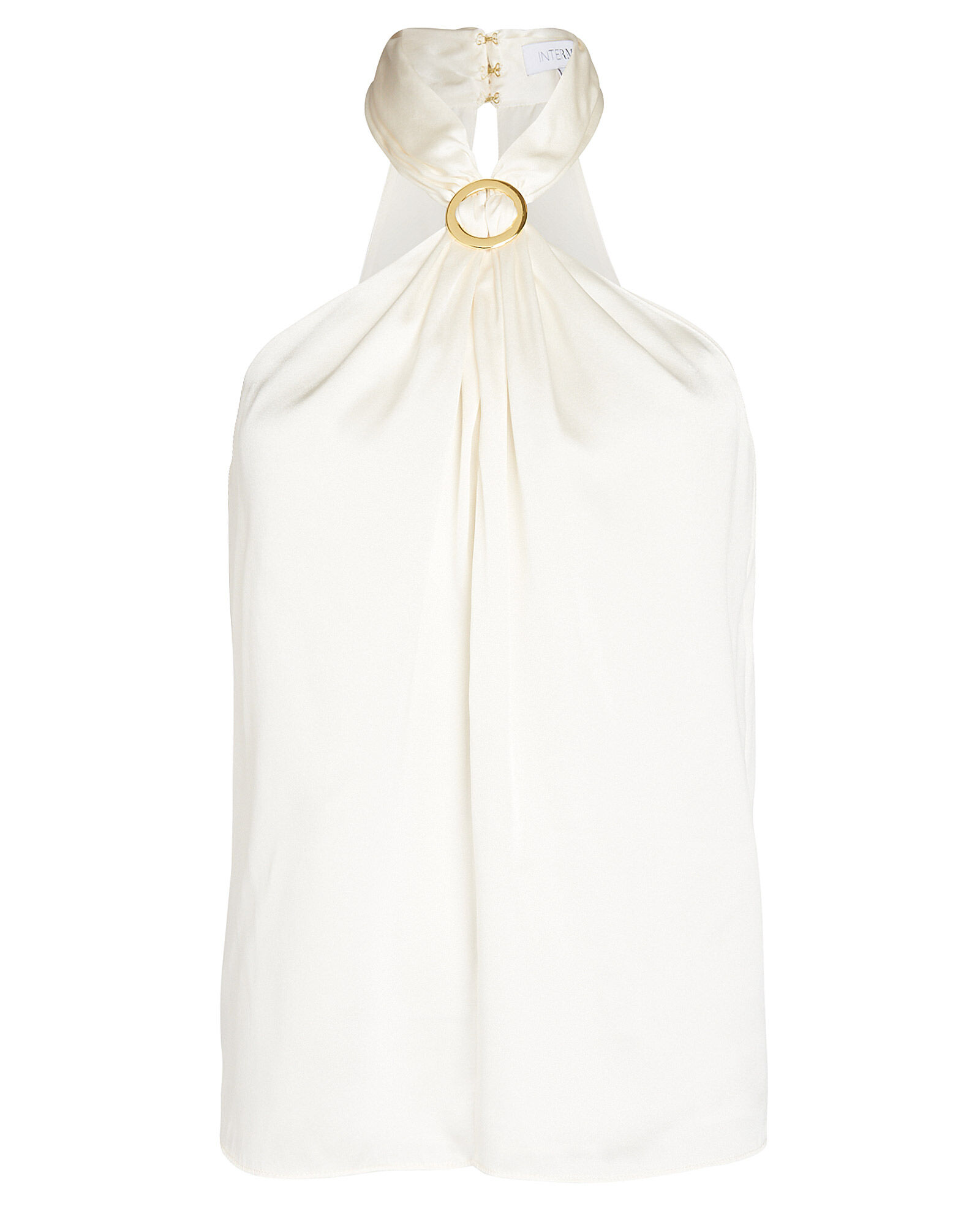 Mila Silk Halter Top, IVORY, hi-res