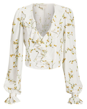 Floral Ruffle Top, IVORY/FLORAL, hi-res