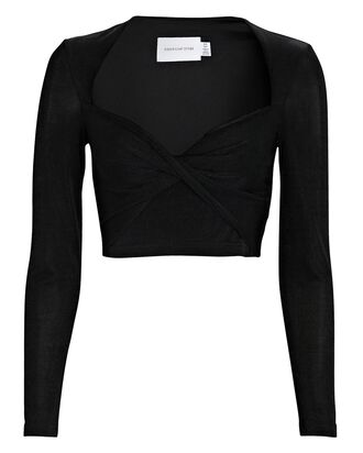 Bambi Long Sleeve Crop Top, BLACK, hi-res