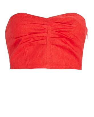 Thea Strapless Crop Top, RED, hi-res