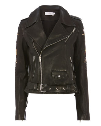 Benson Embroidered Leather Jacket, BLACK, hi-res