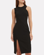 Front Slit Dress, BLACK, hi-res