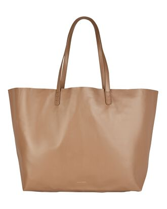 Oversized Leather Tote Bag, BROWN, hi-res