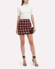 Check Mini Skirt, RED, hi-res