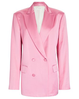 Riley Satin Double-Breasted Tuxedo Jacket, PINK, hi-res