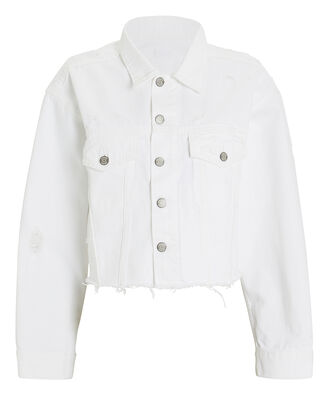 Harvey Cropped Denim Jacket, WHITE, hi-res